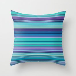 Thin Stripes in Purple, Turquoise and Blue Throw Pillow