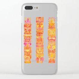 Tiki Totems – Orange Ombré Clear iPhone Case