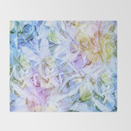 Soft Rainbow Floral Abstract Throw Blanket