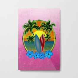 Pink Sunset And Surfboards Metal Print