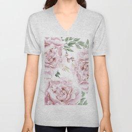 Pretty Pink Roses Floral Garden Unisex V-Neck