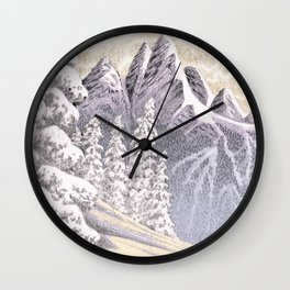 SNOWY MOUNTAIN CHARCOAL DRAWING Wall Clock