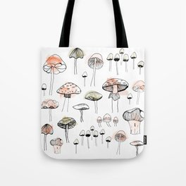 Mushroom harvest - pink and green Tote Bag