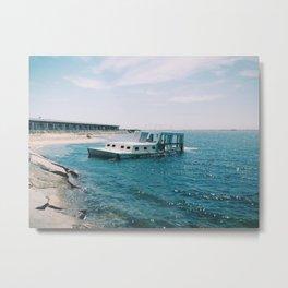 Sunken boat at the Breakwater, Provincetown, MA Metal Print