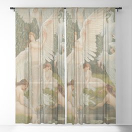 White Swans and the Maidens angelic garden landscape painting by Walter Crane  Sheer Curtain