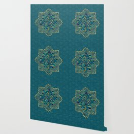 Sri Yantra  / Sri Chakra Gold, Marble and Teal Wallpaper
