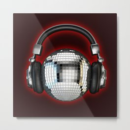 Headphone disco ball Metal Print