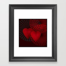 Love. The loving hearts .Black background . Framed Art Print