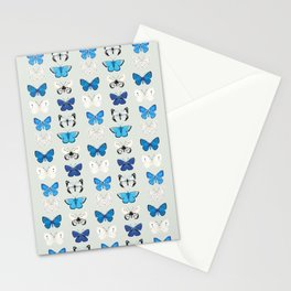 Lepitoptery No. 2 - Blue and White Butterflies and Moths Stationery Cards