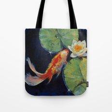 Koi and White Lily Tote Bag
