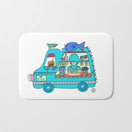 fish and chips food truck Bath Mat