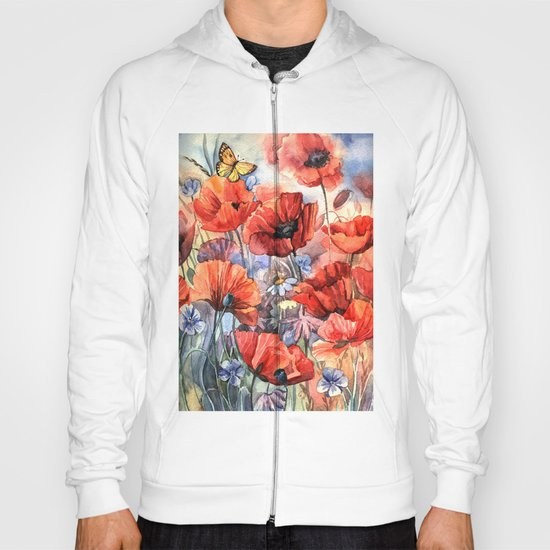 watercolor poppies Hoody