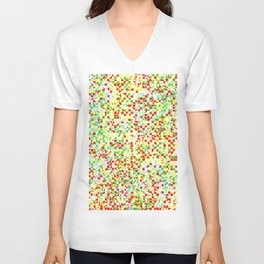 grid in red and yellow Unisex V-Neck