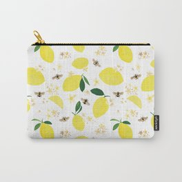 Lemons Blossoms and Bees Pattern Carry-All Pouch