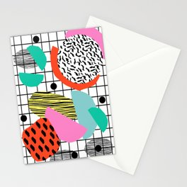 Posse - 1980's style throwback retro neon grid pattern shapes 80's memphis design neon pop art Stationery Cards
