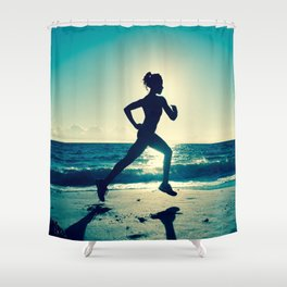 Escaping for a Beach Jog Shower Curtain