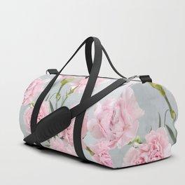 Elegant modern blush pink green carnations floral Duffle Bag