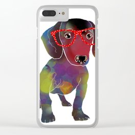 hipster dachshund Clear iPhone Case