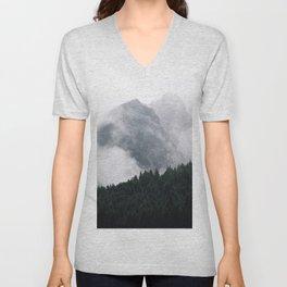 Foggy Mountain Forest Unisex V-Neck