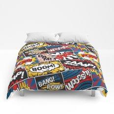 Modern Comic Book Superhero Pattern Color Colour Cartoon Lichtenstein Pop Art Comforters