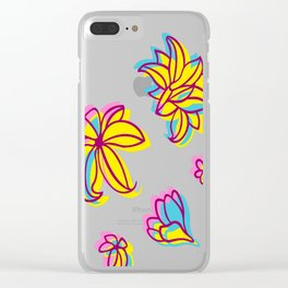 Vivid Summer with Colorful Tropical Flowers Clear iPhone Case