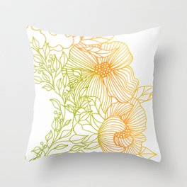 Tangerine and Olive Flowery Linocut Wreath Throw Pillow