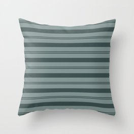Night Watch Color of the Year PPG1145-7 Thick and Thin Horizontal Stripes on Scarborough Green Throw Pillow