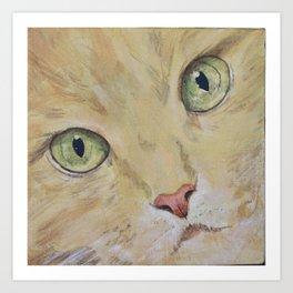 Yellow Cat Face Art Print