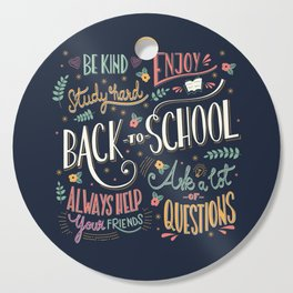 Back to school colorful typography drawing on blackboard with motivational messages, hand lettering Cutting Board