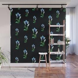 Blue green neon flowers on black Wall Mural