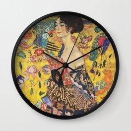 Gustav Klimt Lady With Fan  Art Nouveau Painting Wall Clock