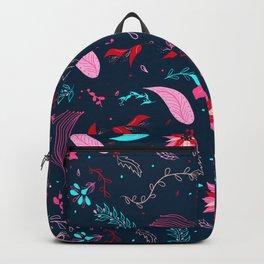 Modern winter bright navy blue pink turquoise teal floral pattern illustration Backpack