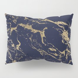 Modern luxury chic navy blue gold marble pattern Pillow Sham