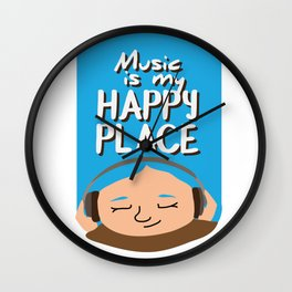 Music is my happy place - Blue Wall Clock
