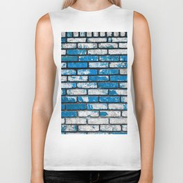 brick wall background in blue and white Biker Tank