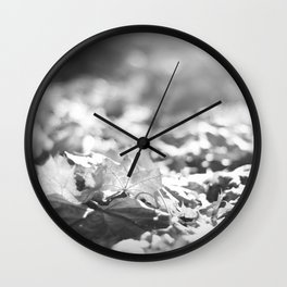Autumn Leafs (Black and White) Wall Clock