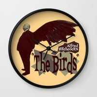 hitchcock Wall Clocks featuring Alfred Hitchcock  |  The Birds by Silvio Ledbetter