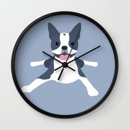 blue boston terrier Wall Clock