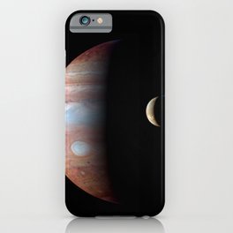 Jupiter and its Volcanic moon Io Deep Space Photograph iPhone Case