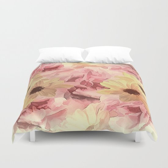 Soft Hazy Day Spring Floral Bouquet Duvet Cover
