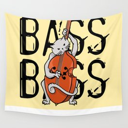 Cat Playing A Double Bass Wall Tapestry