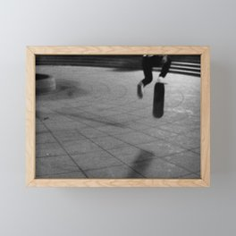 Jumping with Skateboard on the Street, A Framed Mini Art Print