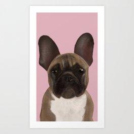 French Bulldog - Bouledogue Français - Dog Portrait - Bulldog Portrait - French Bulldog Puppy Portait by Eau de Papier Illustration Studio and Design Art Print