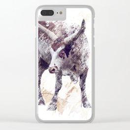 digital painting of  longhorn steer Clear iPhone Case