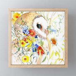 barn owl and flowers floral owl decor artwork Framed Mini Art Print