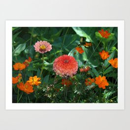 Flowers in Juicy Citrus Colors Art Print