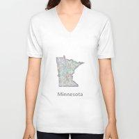 minnesota V-neck T-shirts featuring Minnesota map by David Zydd