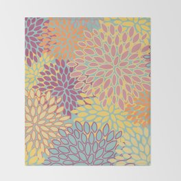 Abstract Flower Pattern, Orange, Yellow, Teal, Pink Throw Blanket