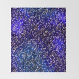Glitter Gold Petit Leaves on Purple Blue Background Throw Blanket