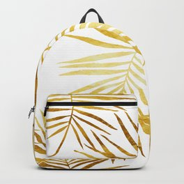 Tropical Palm Fronds in Gold Backpack